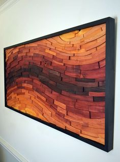 wood wall art SUNSET STREAK wall art wood art by StainsAndGrains