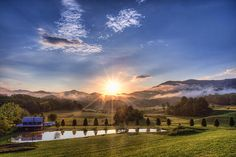 Sunrise over a beautiful farm in Cherokee, NC