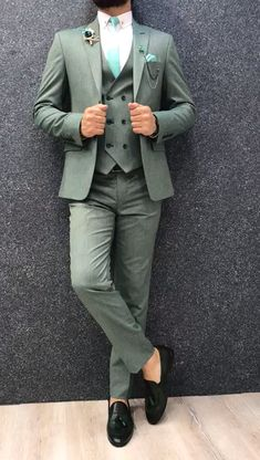 Collection: Spring – Summer 2019 Product: Slim-Fit Wool Suit Color Code: Green Size: Suit Material: wool, polyester Machine Washable: No Fitting: Slim-fit Package Include: Jacket, Vest, Pants Only Gifts: Shirt, Chain and Neck Tie Mens Casual Suits, Dress Suits For Men, Stylish Mens Outfits, Mens Fashion Suits, Mens Suits, Men Dress, Formal Suits For Men, Suit For Men, Green Suit Men