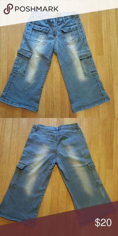 Denim Cargos Faded out denim capris. One of my all-time favorite pairs of shorts until they got too small Crest Jeans denim wear Shorts Cargos