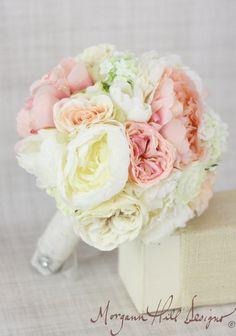 Silk Bride Bouquet Peony Peonies Roses Ranunculus by braggingbags