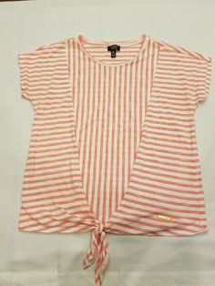Jones New York Signature L large Womans top Short Sleeve peach Stripe shirt #JonesNewYork #Wrap #Casual