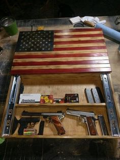 American Flag wall storage cabinet is part of Diy wood projects - Hidden Gun Cabinets, Wall Storage Cabinets, Diy Cabinets, Woodworking Furniture, Woodworking Projects, Woodworking Patterns, Diy Wood Projects For Men, Woodworking Beginner, Woodworking Jointer