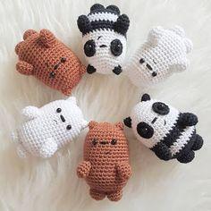 beside crochet: الدببة الثلاث . Motifs Animal, Crochet Animal Patterns, Crochet Patterns Amigurumi, Crochet Animals, Crochet Dolls, Crochet Stitches, Crochet Panda, Kawaii Crochet, Cute Crochet