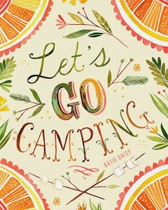 "Unique Junktique: Tuesdays Top Five Favorite Junk Finds #12 Featuring Camping Textile Art ""Lets Go Camping"" print by Katie Daisy"