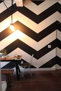 Black and white graphic wall