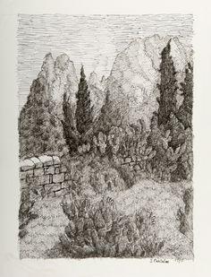 Paesaggio con cipressi S.Pantaleo misure 25x35 in data 1997