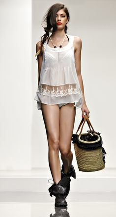 Twin set beachwear collection kaftan dress with embroidered flowers and belt fabric wedge and - Costumi da bagno twin set ...