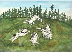 Original Art  Seeing Spots  Watercolor Rabbit by bluedogrose, $160.00