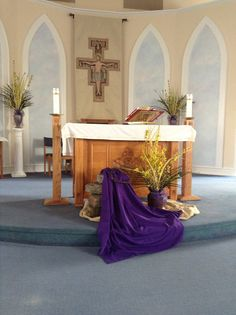 Palm Sunday 2016 at Our Lady of the Snow RC Church Lent Decorations For Church, Church Flower Arrangements, Palm Sunday, Worship, Catholic, Lady, Flowers, Embellishments, Lent