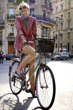 Paris, Pink Jacket, Shades, Bike