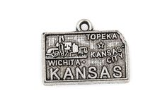 8 KANSAS STATE Cutout Charm Pendants, textured silver tone metal, chs1862 by SmartParts on Etsy