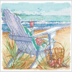 """Tide View Counted Cross Stitch Kit-6""""X6"""" 18 Count"""