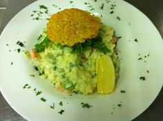 King prawn and broad bean risotto with Parmesan crisp.