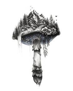 Fungi with ink and watercolor amilliontinylines Mushroom Drawing, Mushroom Art, Cute Tattoos, Body Art Tattoos, Floral Skull Tattoos, Mushroom Tattoos, Nature Tattoos, Ink Art, Blackwork