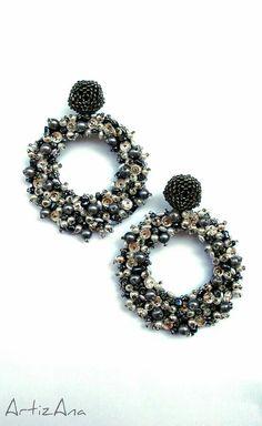 Hoop earrings embroidery ArtizAna