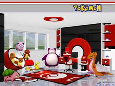 Motivate sim kids to learn with this Pokemon themed study.  Found in TSR Category 'Sims 4 Study Sets'