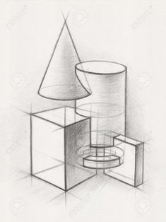 Architecture Drawing Discover Illustration of Geometric Shapes It is a Pencil Drawing Illustration of Geometric Shapes It is a Pencil Drawing 免版税图像 - 23018375 Geometric Shapes Drawing, Geometric Shape Tattoo, Geometric Shapes Design, Geometric Solids, Geometric 3d, Composition Drawing, Form Drawing, Object Drawing, Drawing Faces