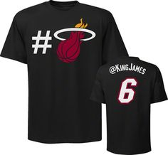 Lebron James Miami Heat NBA Twitter Name & Number T-shirt by Majestic.