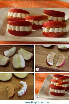 Love this healthy Halloween snack! Apples, peanut butter and marshmallows create cute sets of teeth! Just cut your apples into slices, spread on peanut butter and put marshmallows between the two slices! Soirée Halloween, Halloween Food For Party, Halloween Birthday, Holidays Halloween, Halloween Vampire, Halloween Clothes, Easy Halloween Decorations Diy, Healthy Halloween Treats, Halloween Goodies