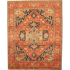 "This is vintage. And in the red-orange hue. An investment piece. Image of Pasargad Serapi Wool Area Rug- 6' 1"" X 9' 3"""