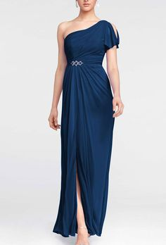 Brides: David's Bridal. One shoulder beaded dress with side slit. Available in apple, ballet, begonia, biscotti, black, canary, clover, coral reef, emerald, horizon, malibu, marine, meadow, mercury, plum, punch,  regency, spa, truffle, or wisteria.��See More David's Bridal Bridesmaid Dresses