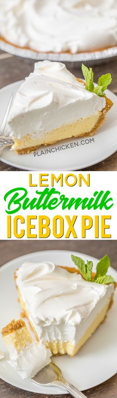 Lemon Buttermilk Icebox Pie - to-die-for delicious! SO simple and it tastes amazing! We made two of these pies in one week and there we. Mini Desserts, Icebox Desserts, Lemon Desserts, Lemon Recipes, No Bake Desserts, Just Desserts, Sweet Recipes, Delicious Desserts, Pie Recipes