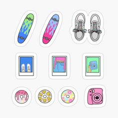 Stickers Cool, Preppy Stickers, Bubble Stickers, Printable Stickers, Indie Drawings, Cute Drawings, Rick And Morty Stickers, Easy Disney Drawings, Homemade Stickers