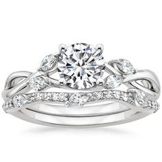 Platinum Willow Diamond Ring with Luxe Willow Diamond Wedding Ring (1/3 ct. tw.)
