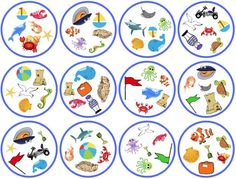 """printable """"Spot-It"""" game cards with images of ocean animals and associated objects -- my students' favorite way to practice vocabulary!  {babybilingual.blogspot.com}"""
