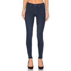 Cheap Monday Mid Spray Skinny ($76) ❤ liked on Polyvore featuring jeans, frayed hem jeans, skinny leg jeans, blue jeans, frayed skinny jeans and super skinny jeans
