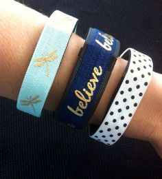 Fitness Band Cover for Fitbit Flex, Fitbit Charge or Fitbit ChargeHR, Set/3: Aqua Dragonfly(DF04), Navy Believe(BE01),White w/Blk Dots(PD01) by BananaWindDesign on Etsy