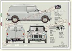 mini Austin Se7en Van 1961-62 classic van portrait print