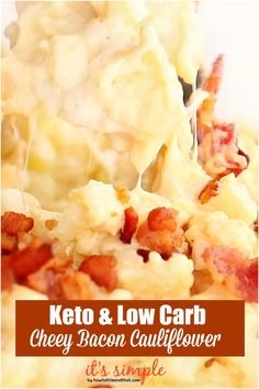 """This keto cauliflower mac cheese makes the PERFECT side dish for your next dinner! It is creamy, savory, and low carb. A healthy cauliflower """"mac cheese"""" great for Healthy Dishes, Easy Healthy Recipes, Low Carb Recipes, Cooking Recipes, Veggie Dishes, Side Dishes, Cauliflower Mac And Cheese, Cauliflower Recipes, Xmas Food"""