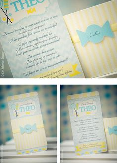 Convite Festa Loja de doces azul e amarelo Candy shop party invitation blue and yellow