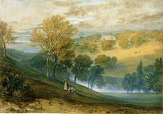 The Athenaeum - Gledhow Hall, Yorkshire (Joseph Mallord William Turner - ) Watercolor Landscape, Landscape Paintings, Oil Paintings, Landscapes, Yorkshire, Turner Artworks, Turner Watercolors, Turner Painting, Foggy Mountains