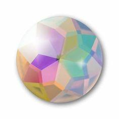 Cabochon, Ø 18 mm, Glas, rund, crystal AB - Kronjuwelen