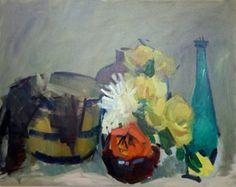 Floral Still Life w/ Green Bottle