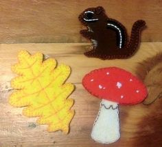 Free Felt Woodland Creatures Pattern Set - chipmunk, toadstool, oak leave, beehive, bumble bee, acorn, apple, and pine cone!