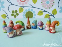 cutest gnomes ever! - Sooo many pretty colors. I need to try this with felting :) (potentially holiday elf gift idea)