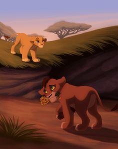 Kovu and Kiara, from the Disney movie The Lion King II: Simba's Pride. Kiara Lion King, Kiara And Kovu, Lion King 3, Lion King Fan Art, Simba And Nala, Lion King Movie, King Simba, Disney Lion King, Arte Disney