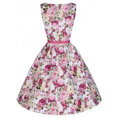 Audrey Pink Rose Print Swing Dress | Vintage Style Dresses - Lindy Bop