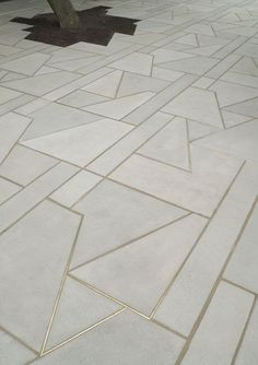 Concrete floor tiles with brass inlay | The Fine Lines ...