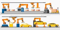 Industrial Automation Robot Horizontal Banners by VectorPot Industrial automation robot horizontal banners with automated packing and machinery production processes vector illustration. Edit