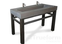 I like this with a linear drain at the back...Concrete Sinks -Trueform Concrete Custom Work