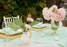 Mint and Blush Wedding Centerpieces | Pink, Mint and Gold Wedding Inspiration_004
