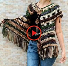 no pattern, just pic Gilet Crochet, Crochet Poncho Patterns, Crochet Jacket, Crochet Shawls And Wraps, Crochet Cardigan, Crochet Scarves, Crochet Clothes, Moda Crochet, Knit Crochet