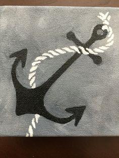 Anchor away- acrylic paint on 4 x 4 canvas