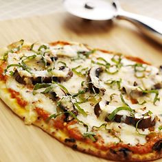 Flatbread Pizzas with Mushrooms, Mozzarella and Gouda