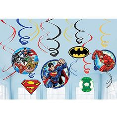 12 Justice League DC Comics Superhero Party Dangling Cutout Swirl Decorations Amscan http://www.amazon.com/dp/B01BFGSZ9U/ref=cm_sw_r_pi_dp_5IV8wb1TV44BJ